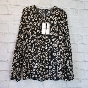 WHO WHAT WEAR NWT Floral Boho Top Women's Small